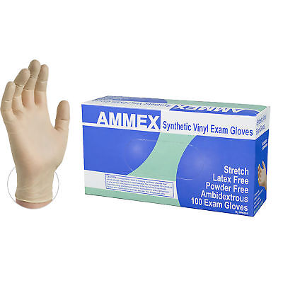 AMMEX Stretch Synthetic Ivory Vinyl Exam Disposable Gloves, Box, 100 count