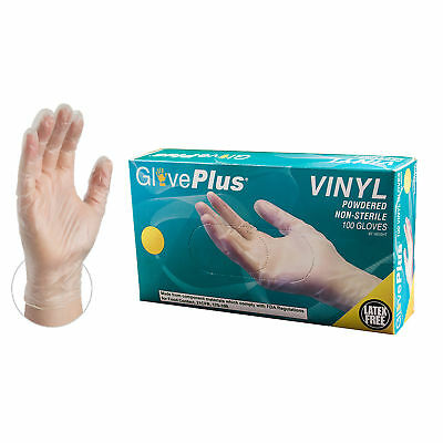 GlovePlus Clear Vinyl Powdered Industrial Disposable Gloves, Box, 100 count