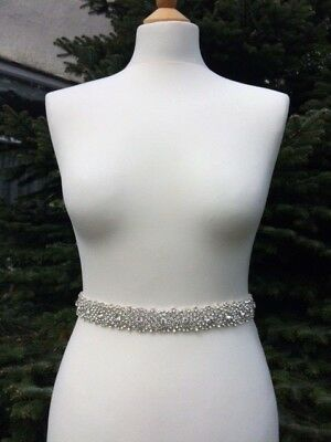 Sally Silver Jewel Rhinestone Crystal Diamante Bridal Sash Dress Belt