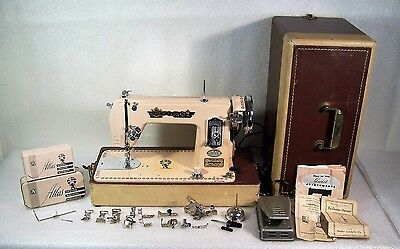 Brother Atlas Precision Deluxe Sewing Machine Pink w/Case Vintage 1950's Working