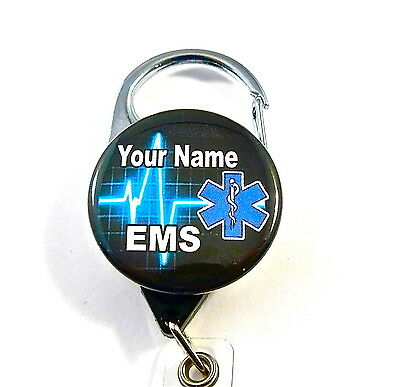 Ems/star Of Life Carabiner Id Badge Holder Retractable Reel,keys Emt,rescue.