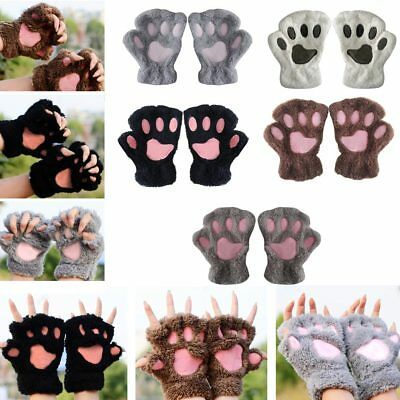 Winter Warm Girls Bear Cat Paw Furry Fuzzy Thicking Half Finger Gloves Mittens