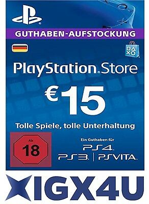 PSN Playstation Network Card Key 15€ 15 EUR EURO Prepaid Card - PS3 PS4 PSP - DE