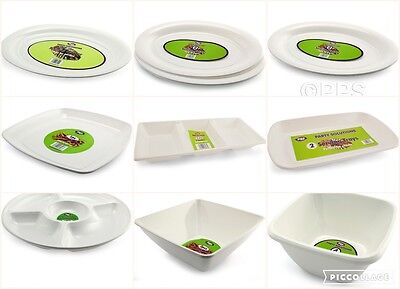 White Disposable Plastic Plates Bowls Trays Party Event BBQ Buffet Great Value!