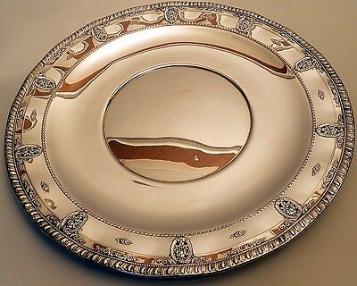 A huge sterling buffet platter with ruffled edge, Rose Point, Wallace