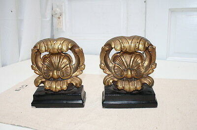Vintage Bookends Shell Gilt Gold Black Neo Classical Composition or Ceramic