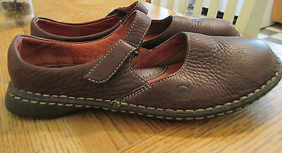 Women's BORN Size 7 Sandals Mary Janes Shoes EUC Dark Brown Leather Flats