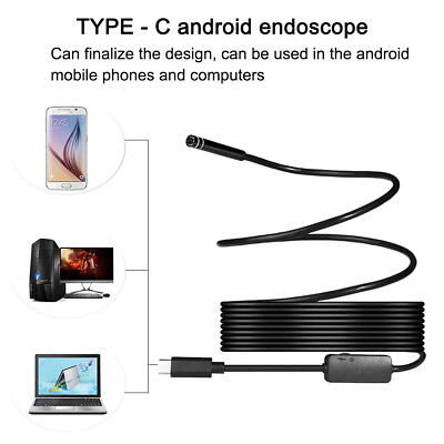 2 in 1 Rigid Cable Waterproof  TYPE-C USB Endoscope 6 LED Camera for PC  Android