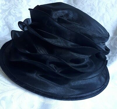 M&S black collapsible/packable organza style hat.  Wedding Races