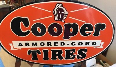 Double Sided Porcelain-near Mint-Cooper Tires Porcelain Sign-30 X 18 Inches