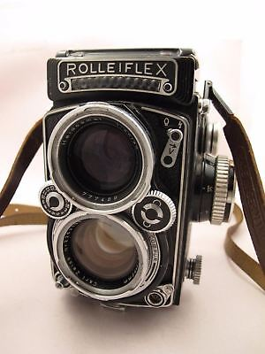 ROLLEIFLEX 2,8 E K7E DBP DBGM TLR Camera Zeiss 80mm Serial 1645567 with Strap