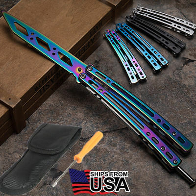 Practice BALISONG BUTTERFLY Stainless Steel Trainer Dull Knife With Sheath Gift