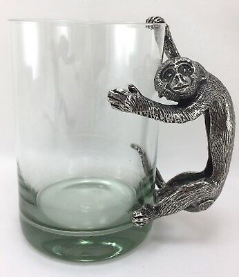 Ngwenya Glass Beer Mug Stein Pewter Monkey Handle - 26oz Hallmarked