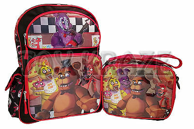 "Five Nights At Freddy's Backpack & Lunch Box Set! Black & Red Checkers 16"" Nwt"