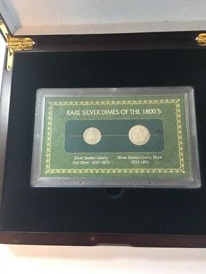Rare Silver Dimes Of 1800S In Wood Display Box #X18