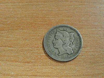 United States Of America 1865 Three Cent Piece 3c Nickels Coin