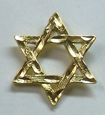 Jewish Star of David Lapel or Hat Pin in Gold Plate NEW