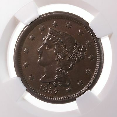 1857 Liberty Head 1C NGC Certified MS62 BN Mint State 62 Copper Large Cent Coin