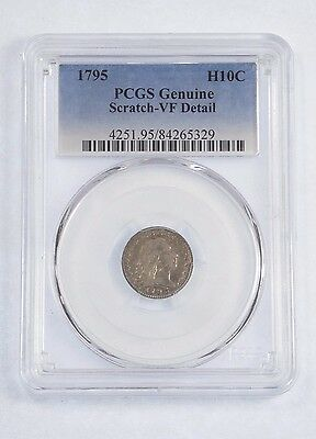 PCGS Genuine 1795 Flowing Hair Half Dime VF Details Silver 5-Cents