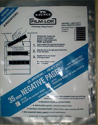 Savage Film-Lok 35mm Negative Pages 25 Archival Heavy Duty Pages/pk