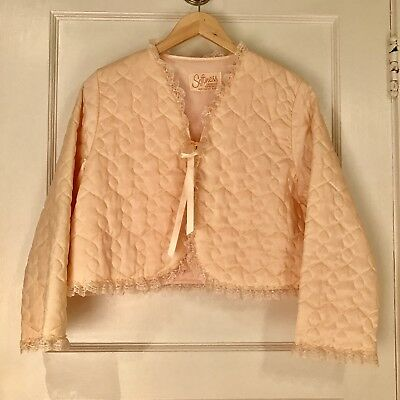 Vintage Softness by Avon Quilted Peach Bed Jacket Size Small