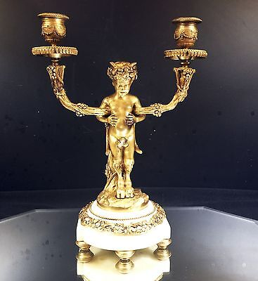 Candlestick--French Gilt Bronze Gilt--Putti--Hooved Feet--Two-Lite--Lovely  Bin!