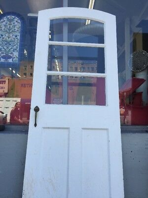 Spanish Revival Style Arched Back Door With Glass Antique Vintage Hardware