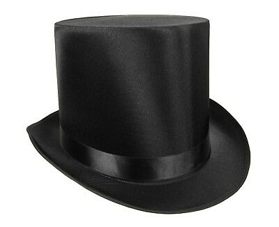 Tall Satin Top Hat Victorian Steampunk Dickens Slash Formal Costume Black Adult
