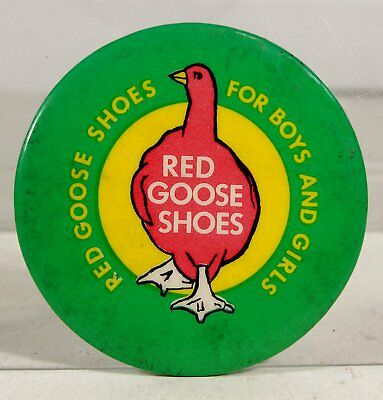 1949 Red Goose Children's Shoes Celluloid Advertising Pocket Mirror 2.25 Inches