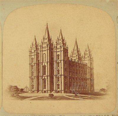 1870s SALT LAKE CITY MORMON TEMPLE STEREOVIEW PHOTOGRAPH / PHOTO By CARTER