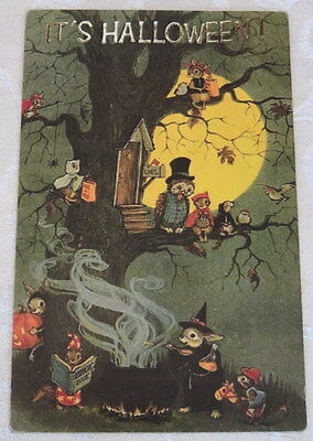 Vintage Halloween Postcard, Animals Very Busy By The Light of the Full Moon