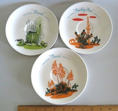 "SET VTG 50s BLAKELY OIL GAS GIVEAWAY, ARIZONA CACTUS DINNERWARE 6"" SAUCER PLATES"