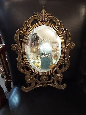 Vintage French Rococo Victorian Cast Brass Hanging Wall Mirror By P.t. & B. Co