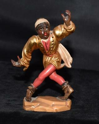 Hand Carved Wooden Polychrome Painted Mohr in Gold Jacket & Red Pants- Excellent