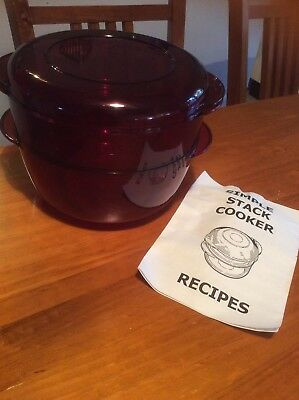 Tupperware Stack Cooker Red Complete With Recipe Book Steamer Microwave