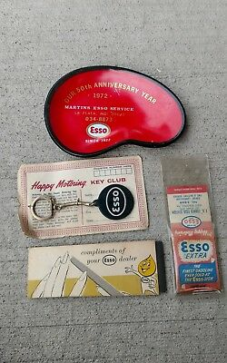 ESSO EXXON collectibles.  ESSO Ash tray LA PLATA MD. Motoring key;  matches PA.