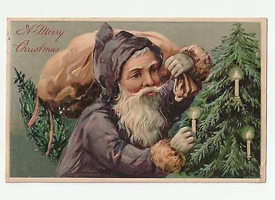 Vintage Christmas Postcard , Santa in a Purple Cloak, Tree With Candles, 1908