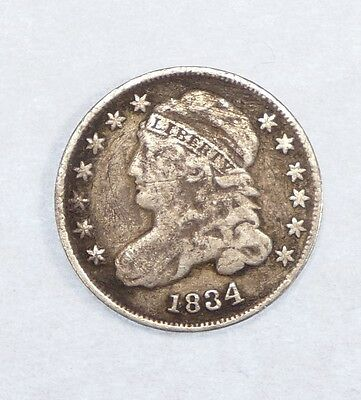 BARGAIN 1834 Capped Bust Dime FINE Silver 10-Cents