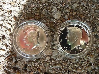 2014 D 90% silver + 2014 P silver proof Kennedy half dollars in acrylic capsules