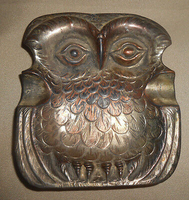 Antique Owl Ashtray Silverplate