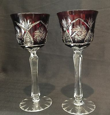 Heavily Cut Crystal Colored Wine Hocks Set Of 2 Perfect Condition