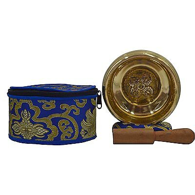 Meditation Tibetan Plain Singing Bowl with Bajra Crafted and protective pouch. &