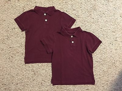 Set of 2 Childrens Place Boys Burgundy Short Sleeve Polo Uniform Shirts Sz XS 4
