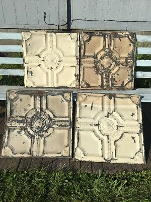 """Vintage 1800's Architectural Tin Ceiling Tiles 24"""" X 24"""" Lot Of 4 Pieces Crafts"""