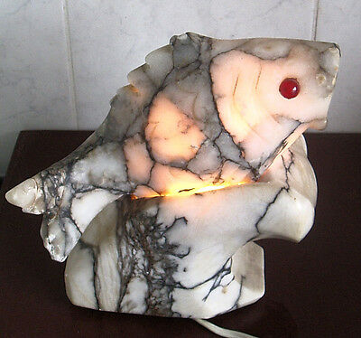 Italian Marble Fish Shape Electric Table Lamp Works Ok Light Shines Inside