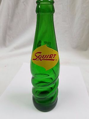 Vintage ACL Green Swirl Glass Squirt Soda Pop Bottle