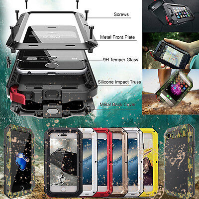 HEAVY DUTY Shockproof Aluminum Gorilla Glass Metal Case Cover For iPhone 7 8 X