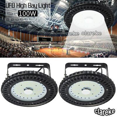 2X 100W UFO LED High Bay Light Factory Warehouse Gym Industrial Shed Lighting