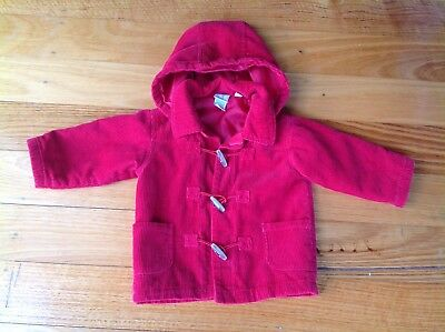 Red Unisex Paddington Style Duffel / Duffle Coat With Detachable Hood - Size 1