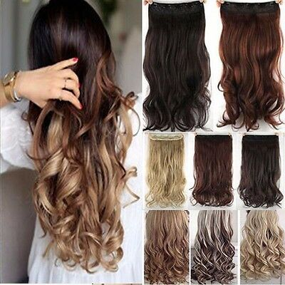 Real Thick Clip In Hair Extensions Long Curly Full Head Hair Extention Brown N11